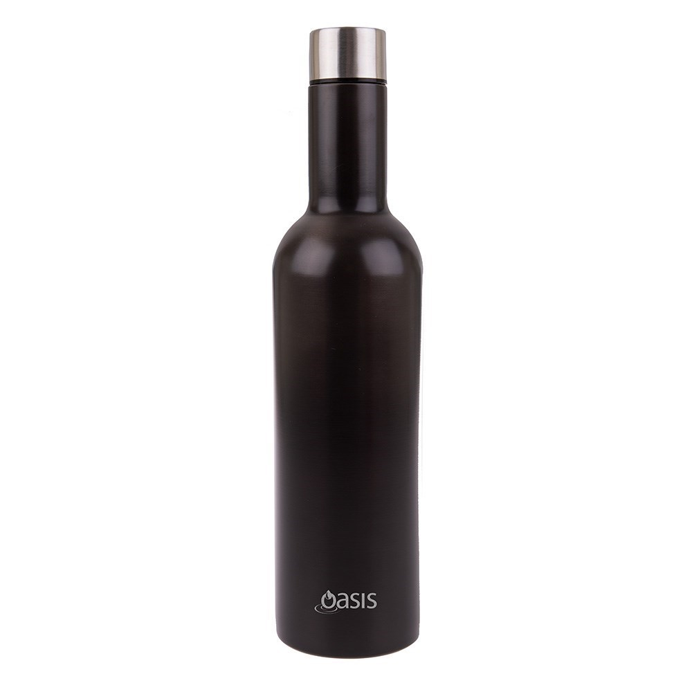 Oasis Stainless Steel Double Walled Insulated Wine Bottle 750ml Smoke Black