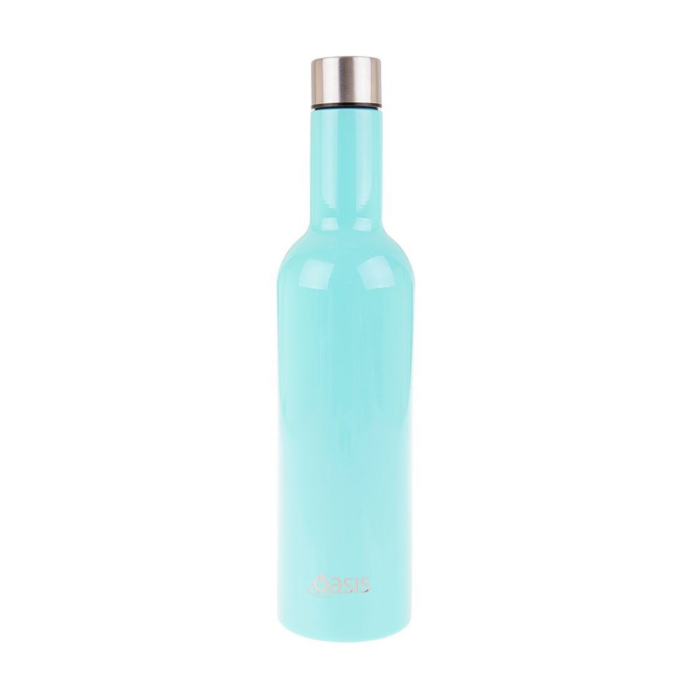Oasis Stainless Steel Double Walled Insulated Wine Bottle 750ml Spearmint Green