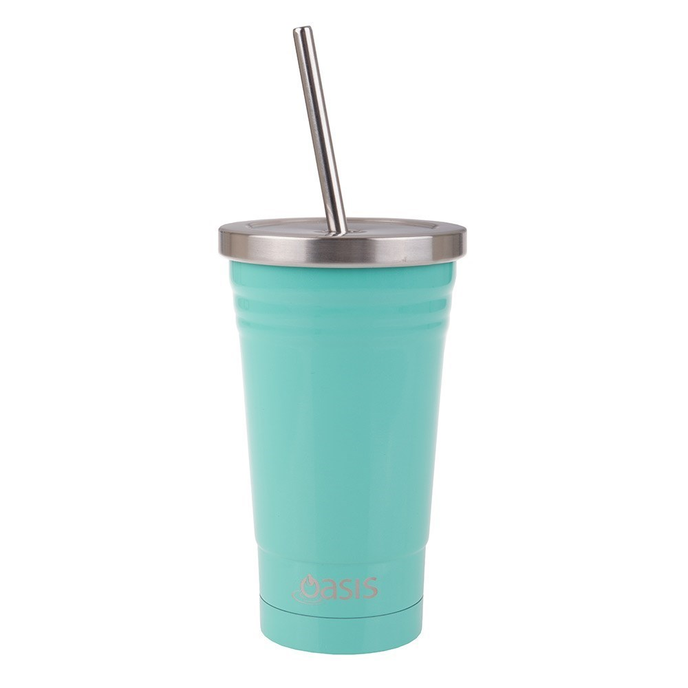 Oasis Double Wall Insulated Smoothie Tumbler with Straw 500ml Spearmint Green