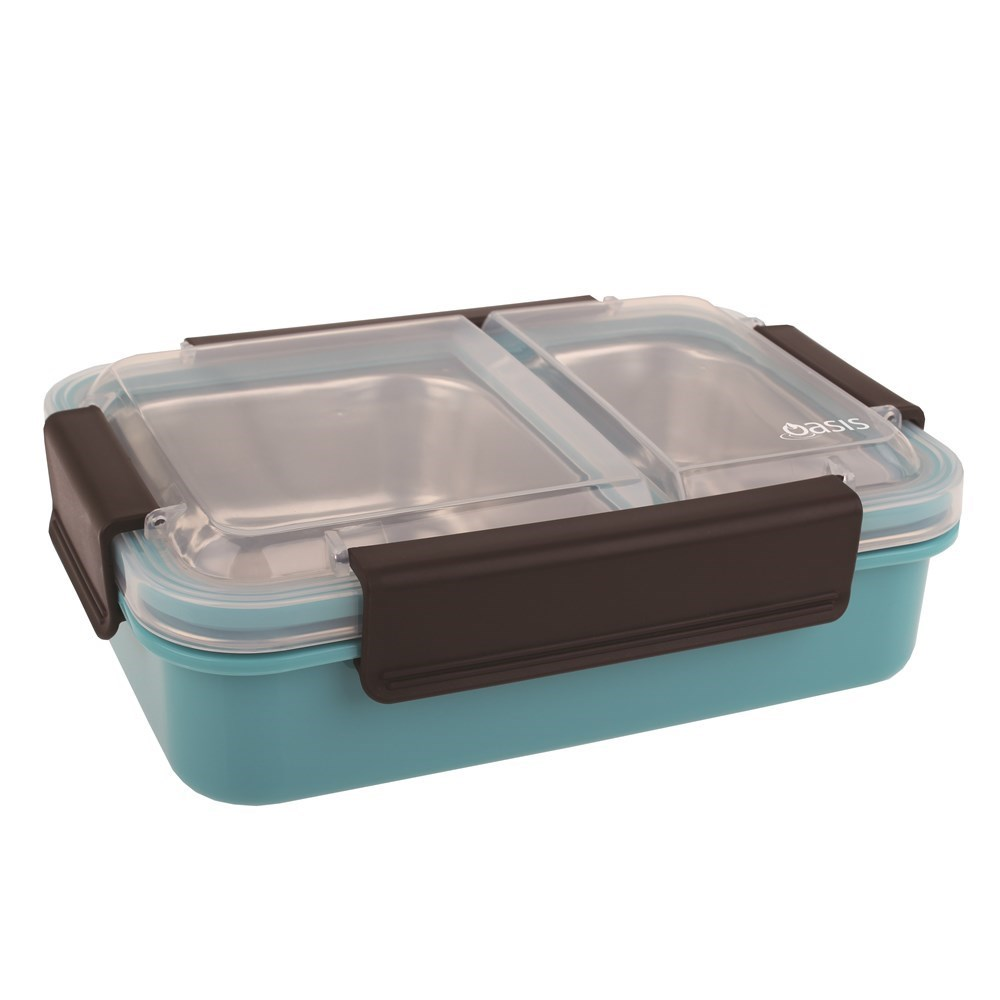 Oasis Stainless Steel Compartment Lunch Box 23 x 16.5cm Turquoise