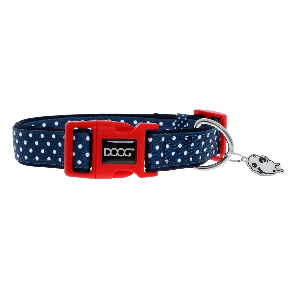 Doog Stella Dog Collar Navy with White Spots Small