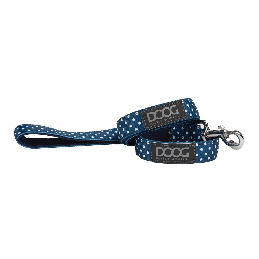 Doog Stella Dog Lead Small Navy with White Spots