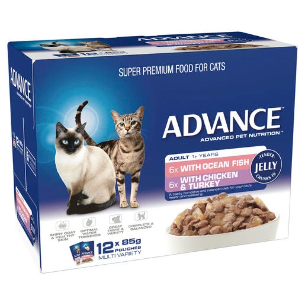 Advance Adult Cat Multi Pack Tender Chunks in Jelly Wet Food 12x85g