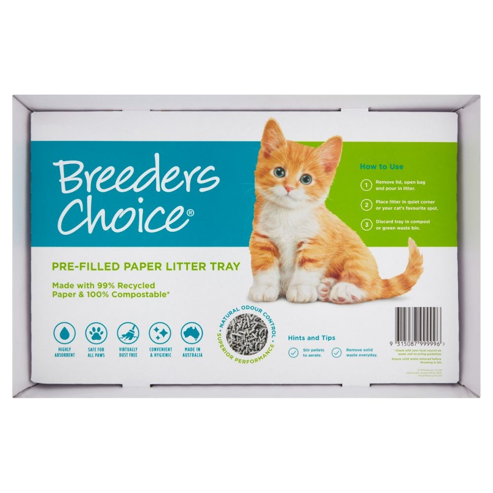 Breeders Choice Pre Filled Single Use Disposable Cat Litter Trays 5 Pack