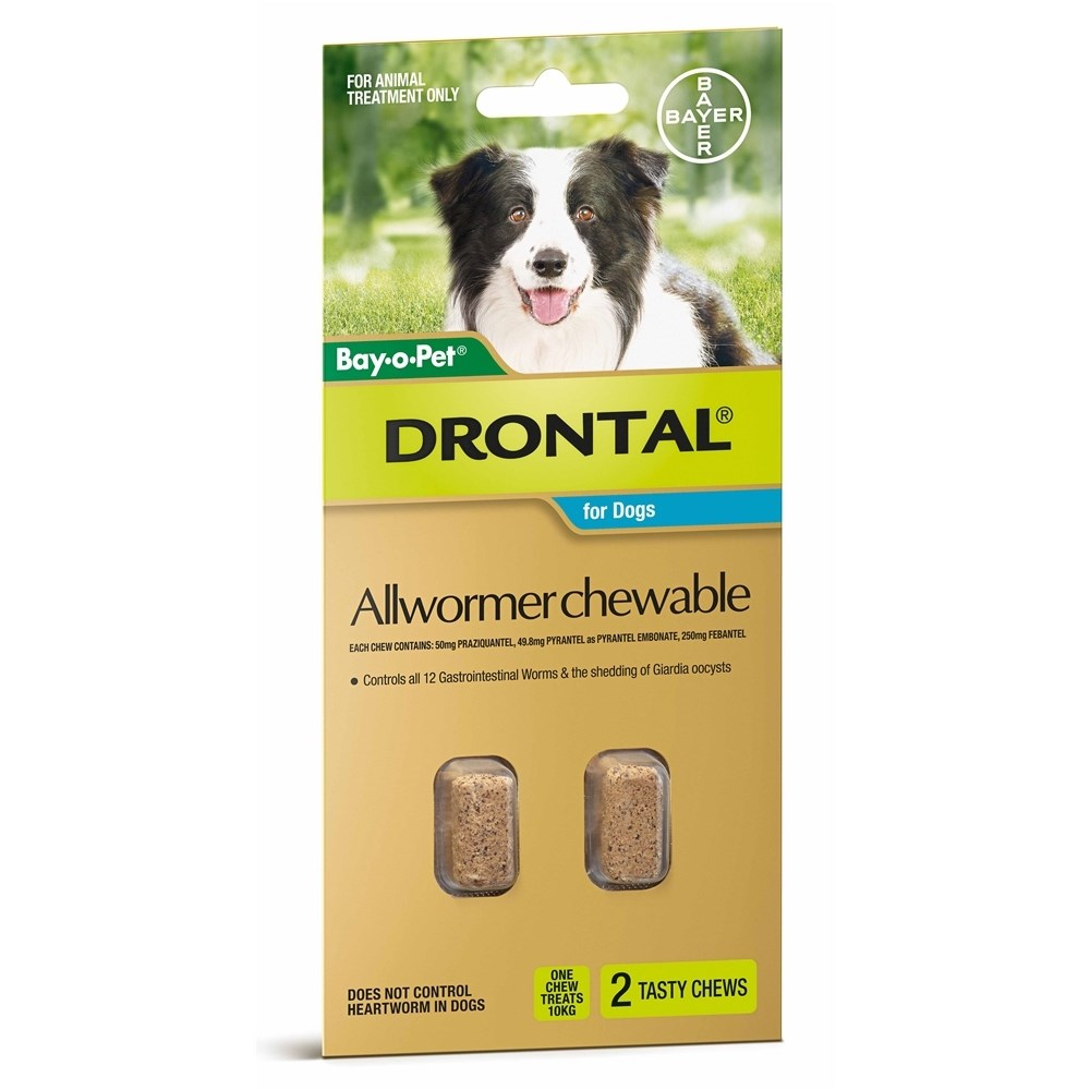 Drontal Allwormer Chewables for Medium Dogs up to 10kg 2 Pack