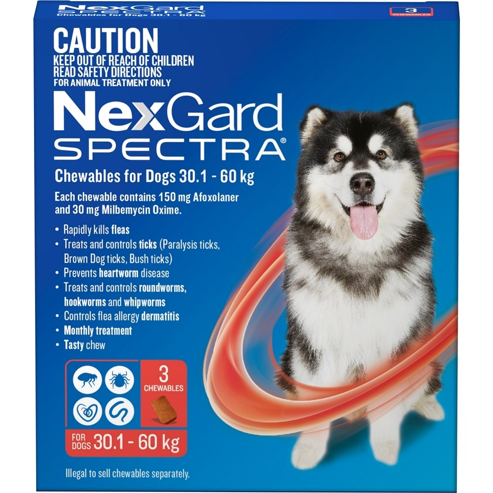 Nexgard Spectra Red For Very Large Dogs 30.1-60kg 3 Pack