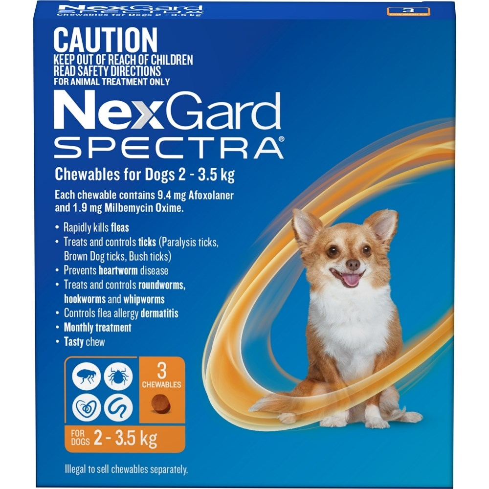 Nexgard Spectra Orange For Very Small Dogs 2-3.5kg 3 Pack