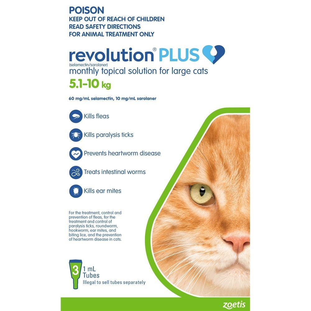 Revolution Plus for Cats 5 - 10kg Large Green 3 Pack