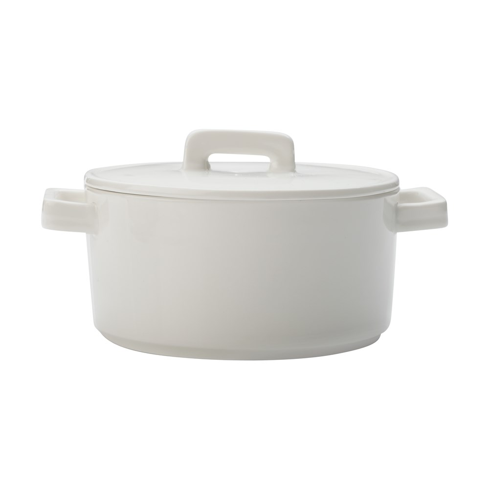Maxwell & Williams Epicurious Round Casserole 1.3L White Gift Boxed