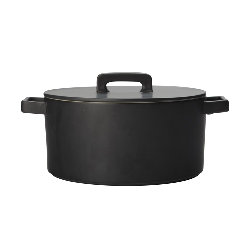 Maxwell & Williams Epicurious Round Casserole 1.3L Black Gift Boxed
