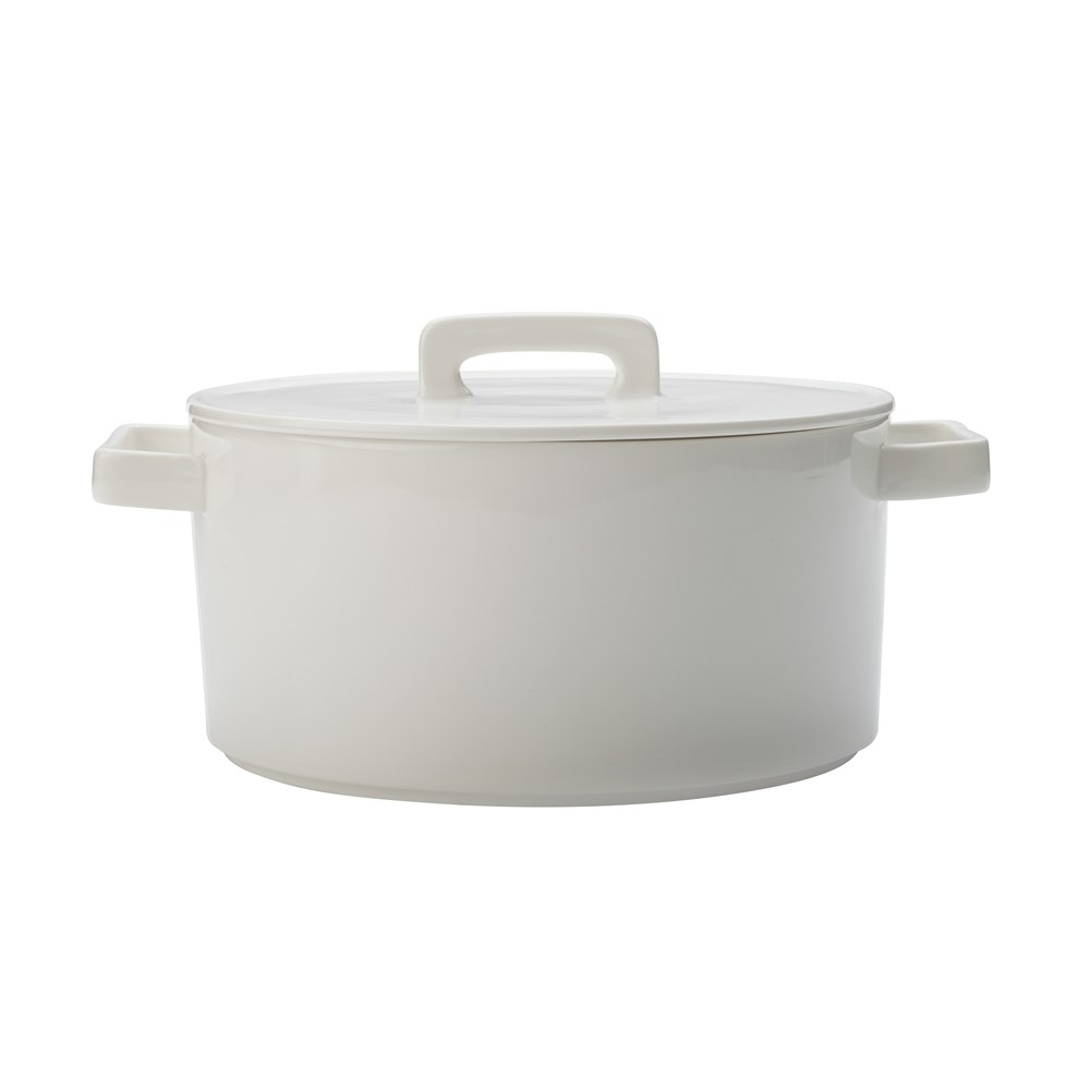 Maxwell & Williams Epicurious Round Casserole 2.6L White Gift Boxed