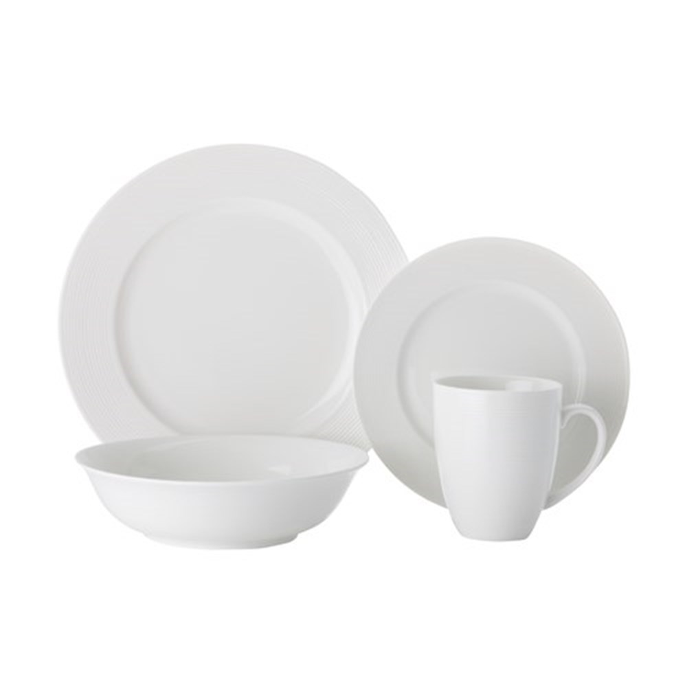 Casa Domani Casual White Evolve Coupe Dinner Set 16 Piece