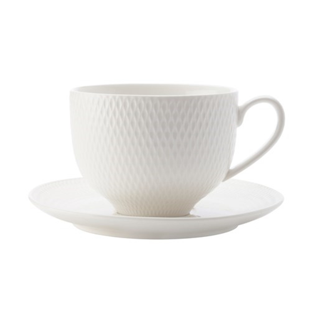 Maxwell & Williams White Basics Diamonds Cup & Saucer 220ml