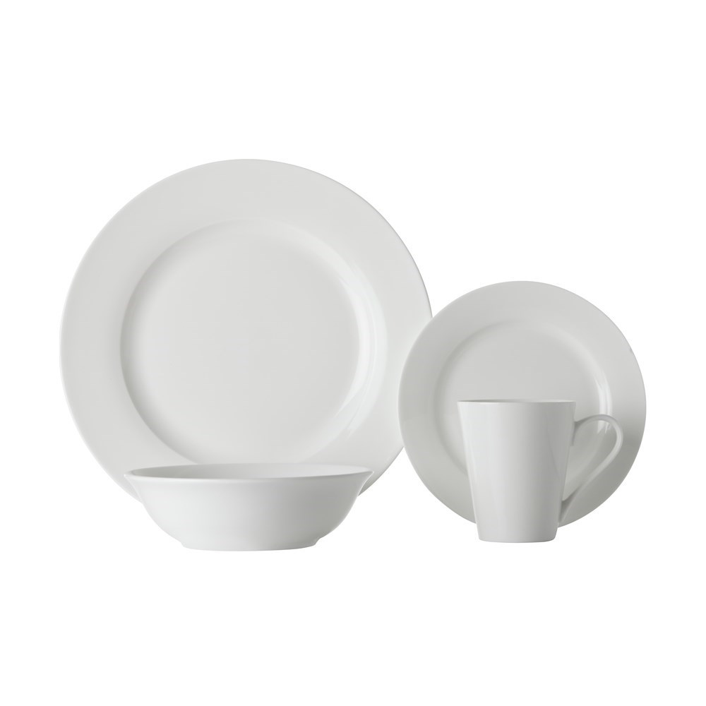 Maxwell & Williams White Basics Cosmopolitan Rim Dinner Set 16 Piece