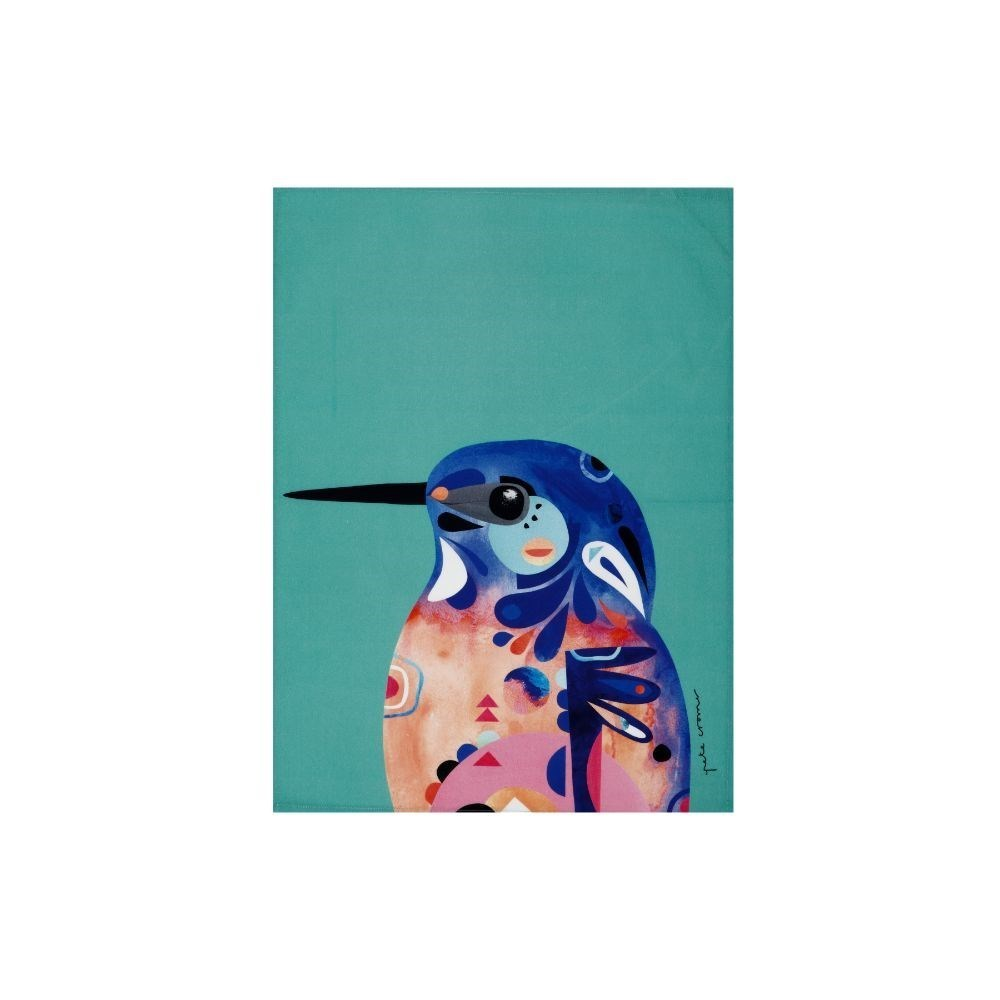 Maxwell & Williams Pete Cromer Azure Kingfisher Tea Towel 50 x 70cm