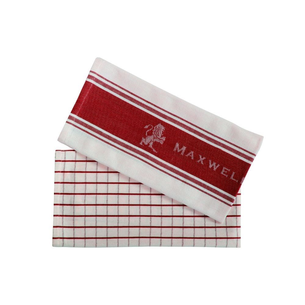 Maxwell & Williams Epicurious Tea Towel Set of 2 Red 50 x 70cm