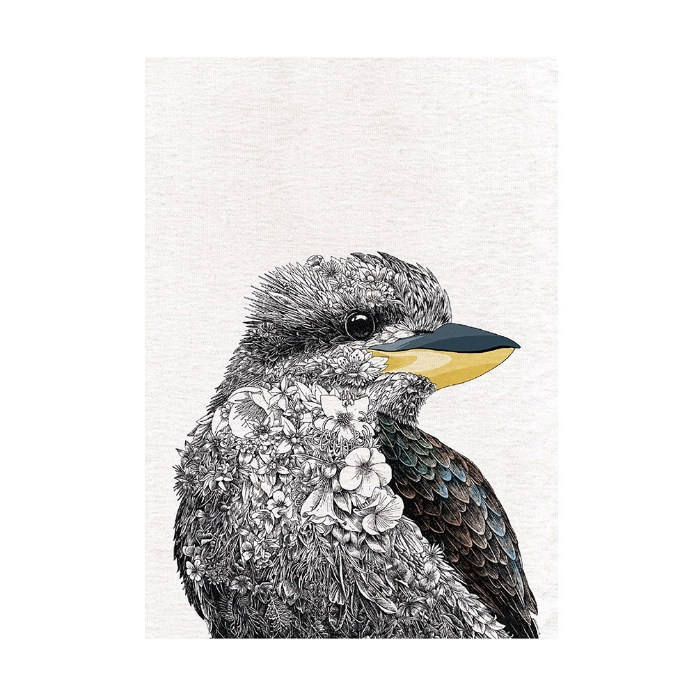 Maxwell & Williams Marini Ferlazzo Birds Cotton Tea Towel 50 x 70cm Kookaburra