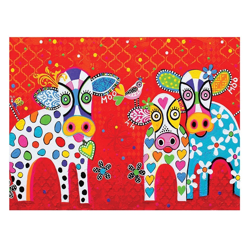 Maxwell & Williams Love Hearts Cotton Tea Towel 50 x 70cm Happy Moo Day