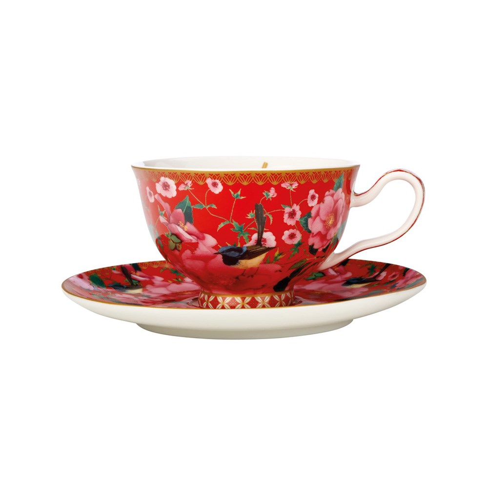 Maxwell & Williams Teas & C's Silk Road Footed Cup & Saucer 200ml Cherry Red