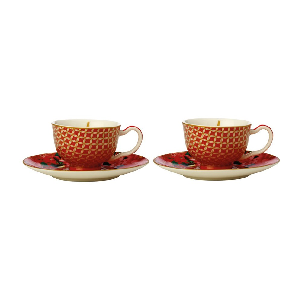 Maxwell & Williams Teas & C's Silk Road Demi Cup & Saucer 85ml Set of 2 Cherry Red