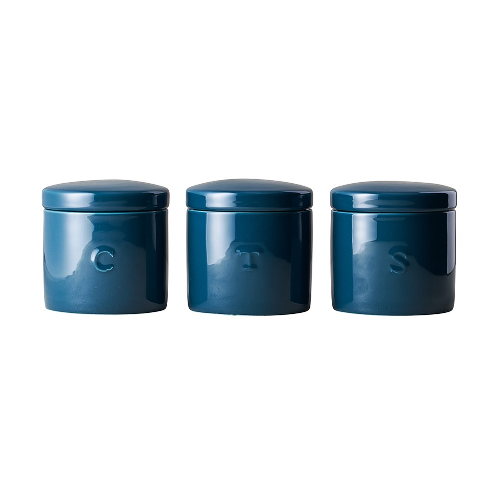 Maxwell & Williams Epicurious Set of 3 Canister Gift Boxed 600ml Teal