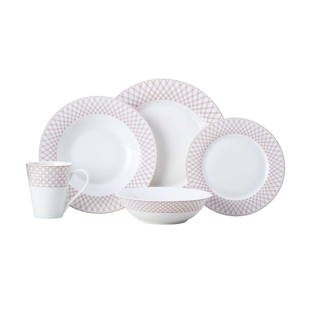 Maxwell & Williams Jewel 20 Piece Rim Dinner Set Gift Boxed Ruby