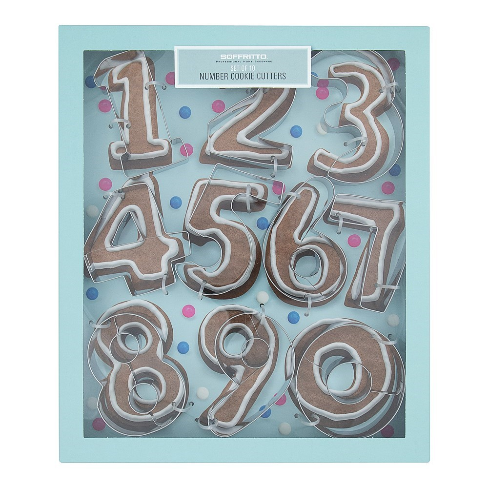 Soffritto Professional Bake Numbers Cookie Cutters 10 Piece
