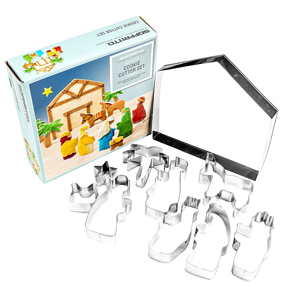 Soffritto Stainless Steel 10-Piece Christmas Nativity Cookie Cutter Set