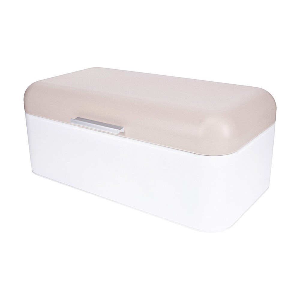 Scullery Stainless Steel Bread Bin White & Taupe
