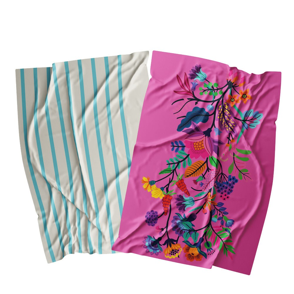 Ambrosia Aster Cotton 2 Piece Tea Towel Set 67.5 x 47.5cm Pink Floral