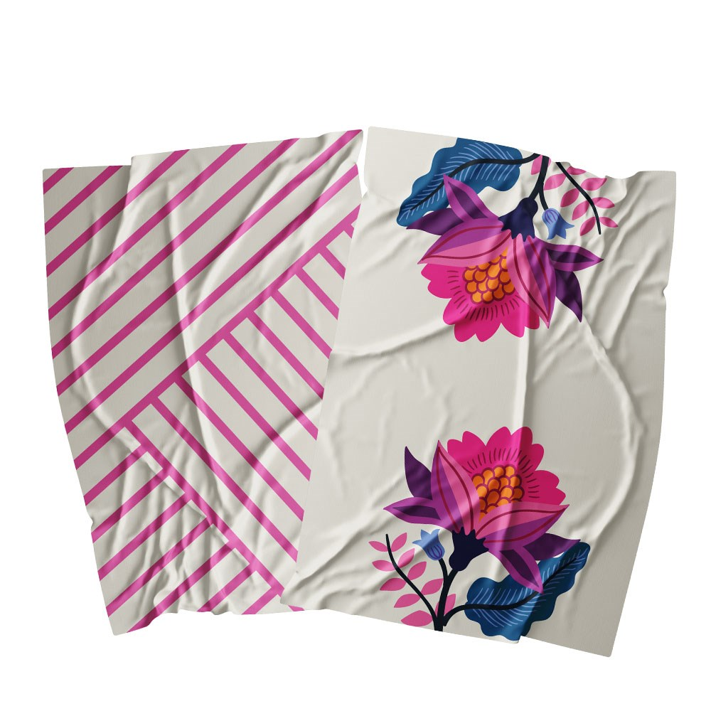Ambrosia Aster Cotton 2 Piece Tea Towel Set 67.5 x 47.5cm Flower Stem
