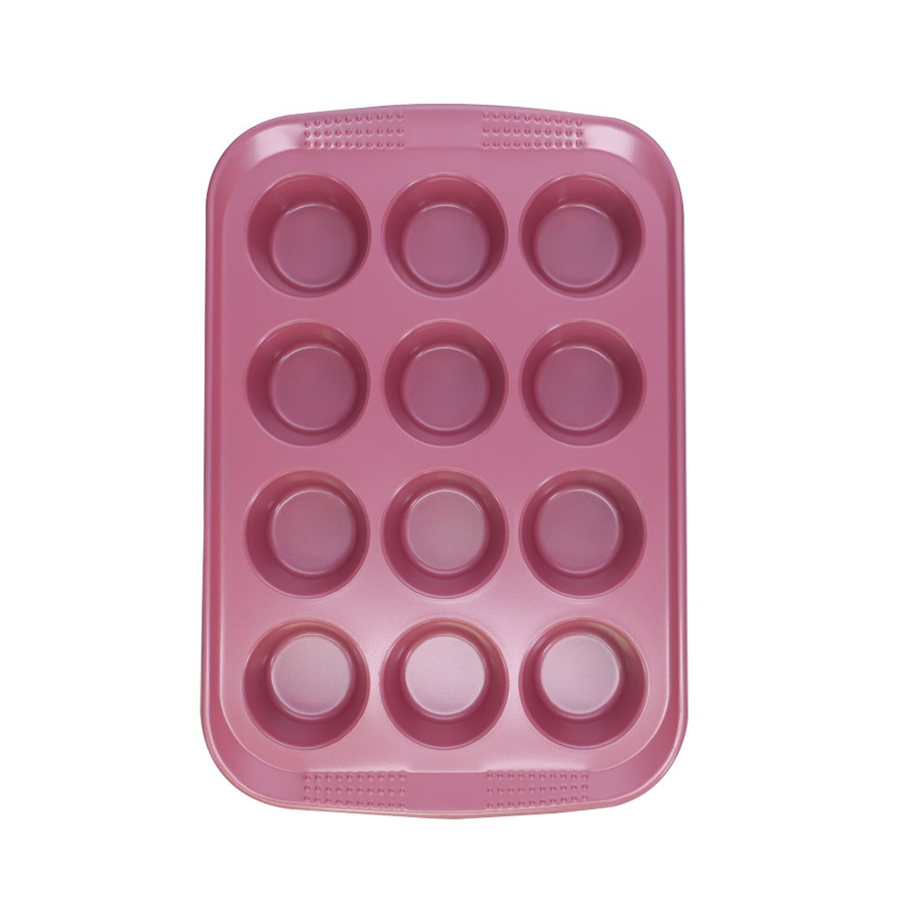 Soffritto Commercial Non-Stick Carbon Steel 12-Cup Muffin Pan Pink