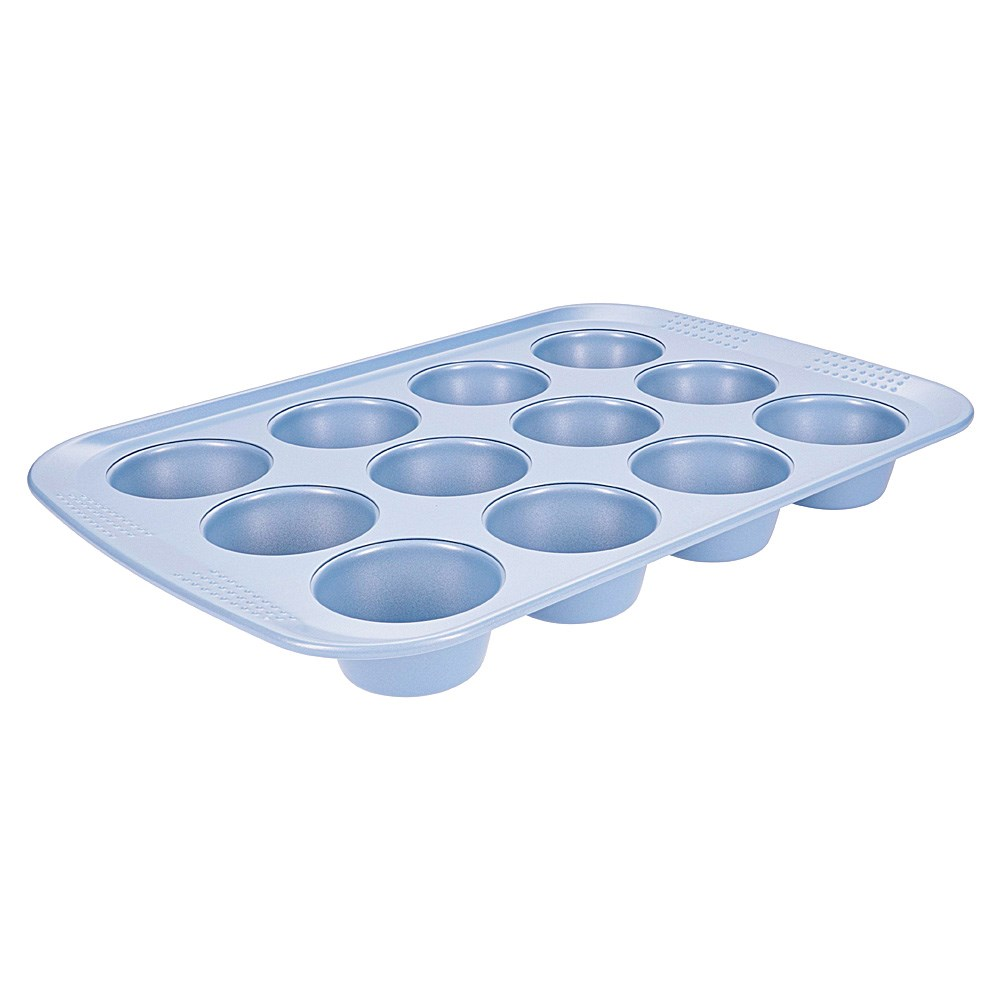 Soffritto Commercial Non-Stick Carbon Steel 12-Cup Muffin Pan Teal