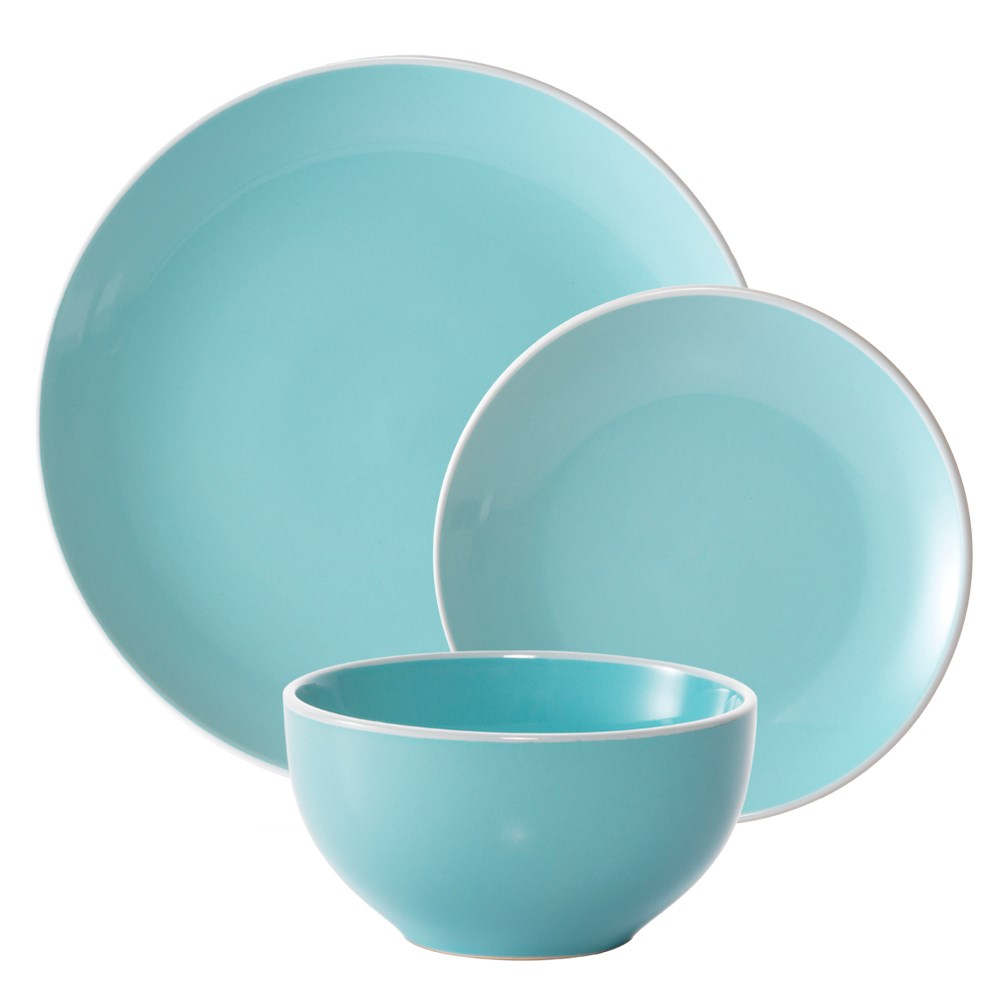 Ambrosia Rise Stoneware 12 Piece Dinner Set Blue