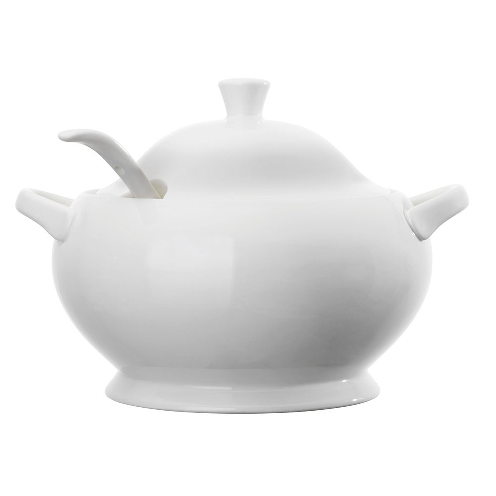 Ambrosia Ashton Porcelain Soup Tureen with Lid & Ladle 3L White