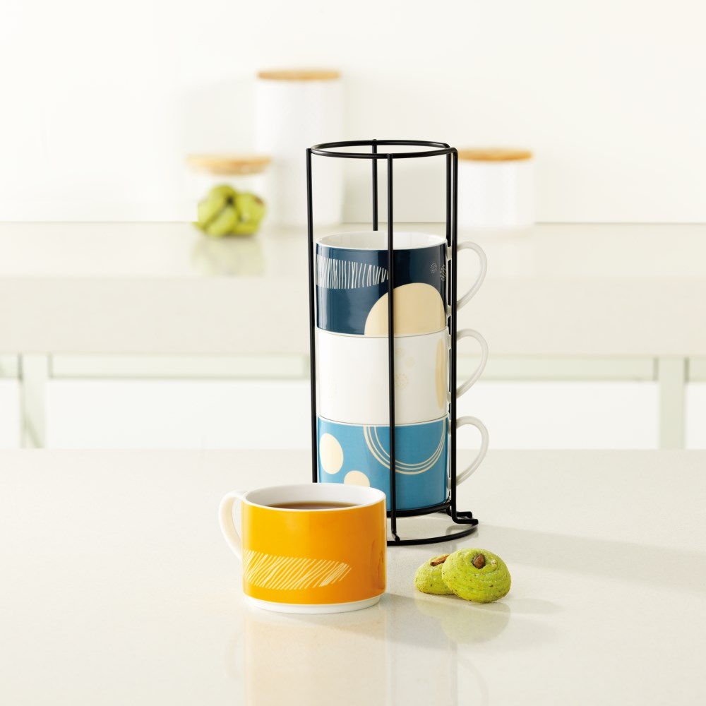 Ambrosia Stackable Mugs with Stand Set of 4 Tone