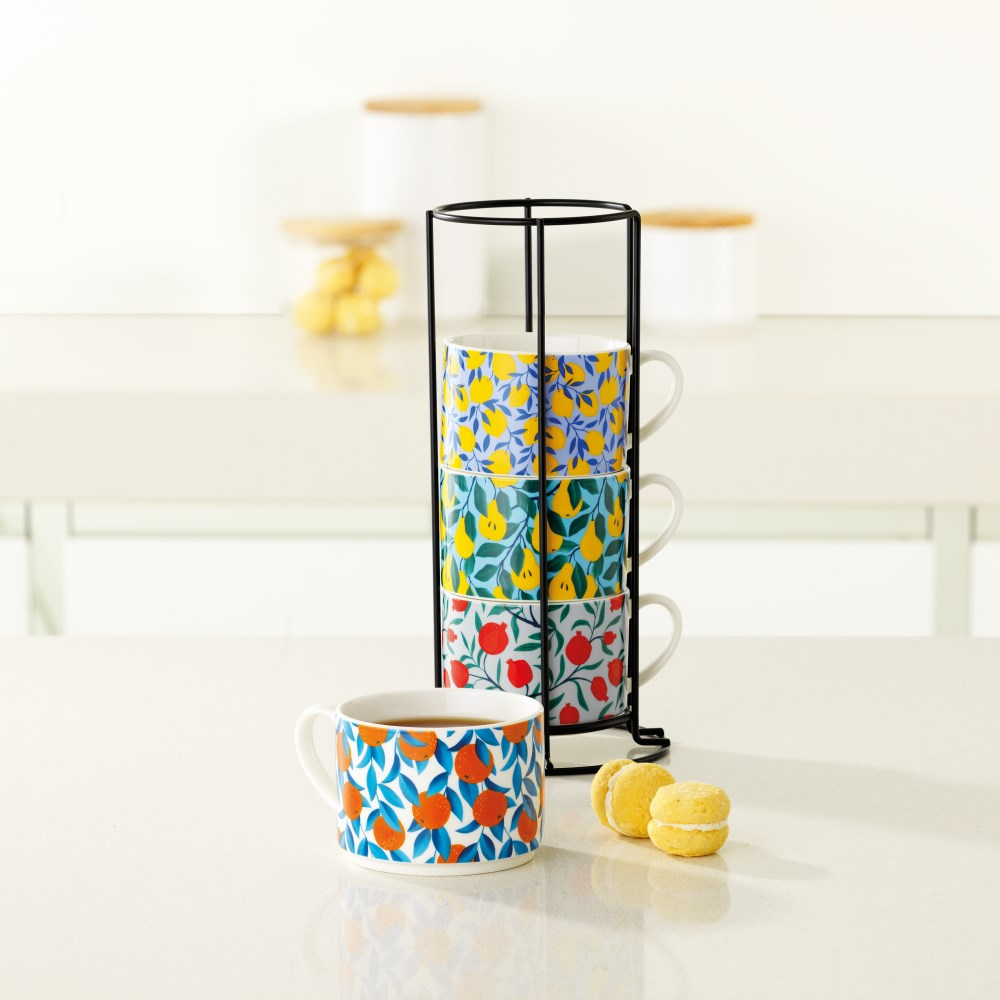 Ambrosia Stackable Mugs with Stand Set of 4 Fruit