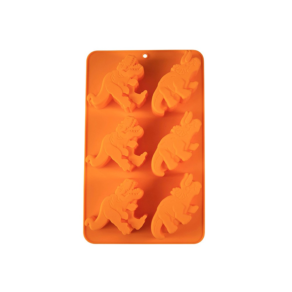 Soffritto Professional Bake Novelty Silicone 6 Cup Cake Pan Dinosaur