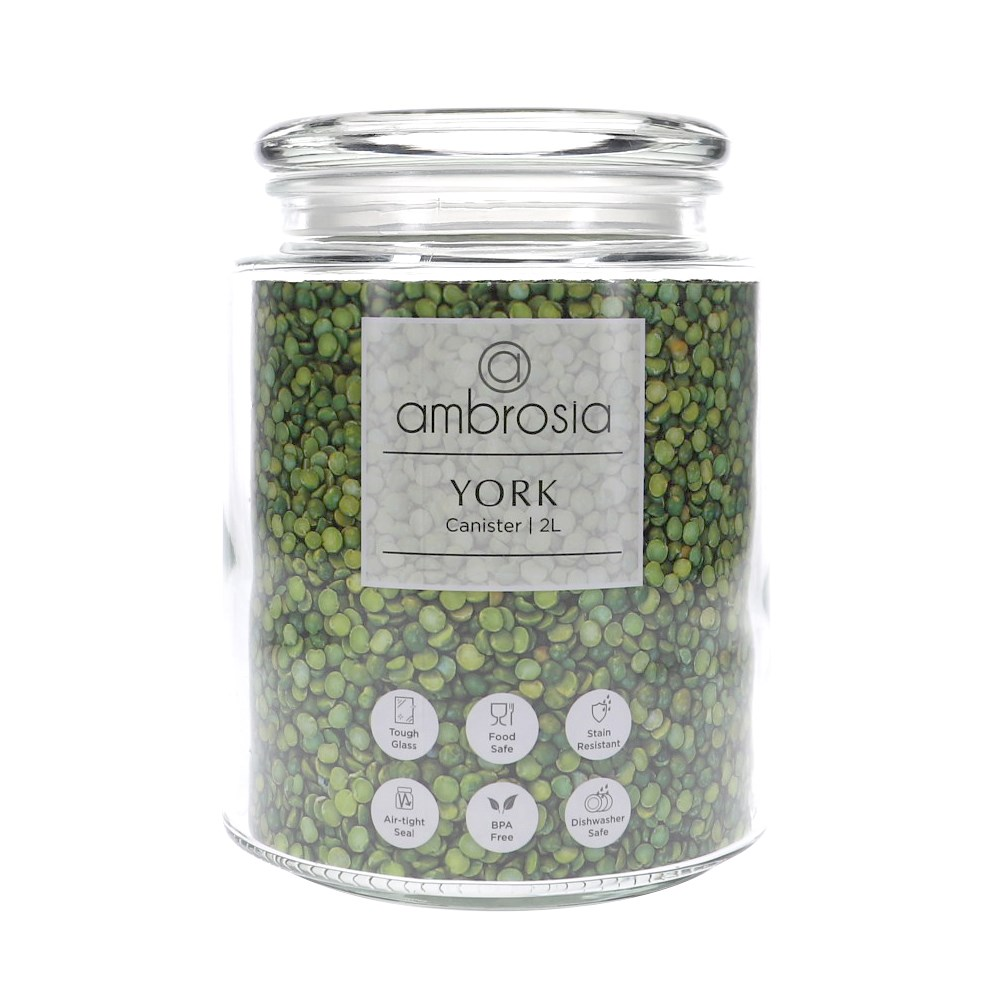 Ambrosia York Glass Canister 2L