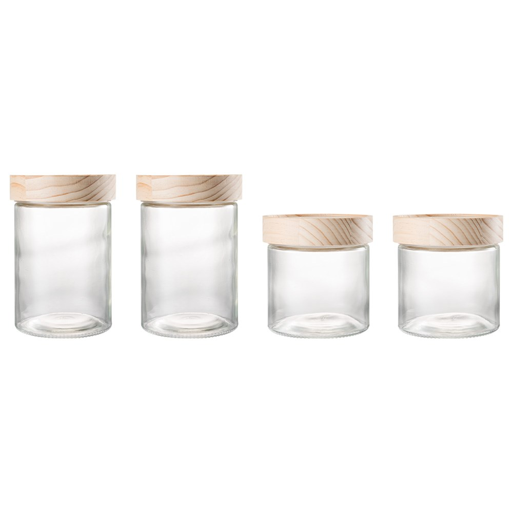 Ambrosia Stack n Store 4 Piece Glass Canister Set