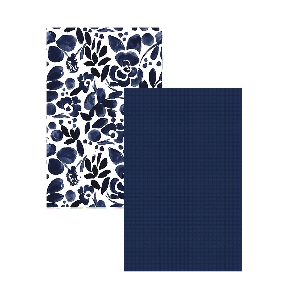 Ambrosia Floral Navy 2 Piece Cotton Tea Towel Set 50 x 70cm