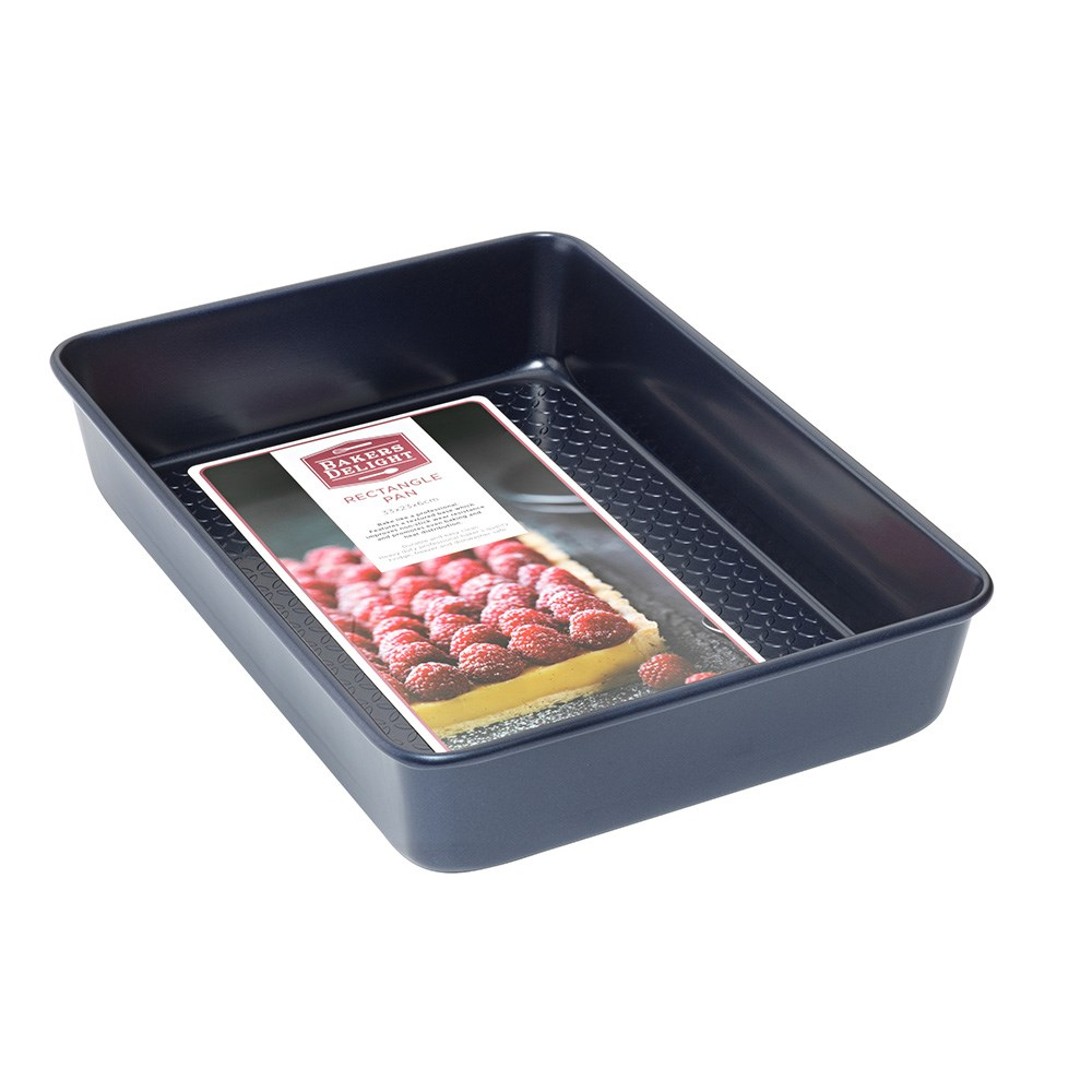 Bakers Delight Cuisson Carbon Steel Non Stick Rectangle Baking Pan 33cm Navy