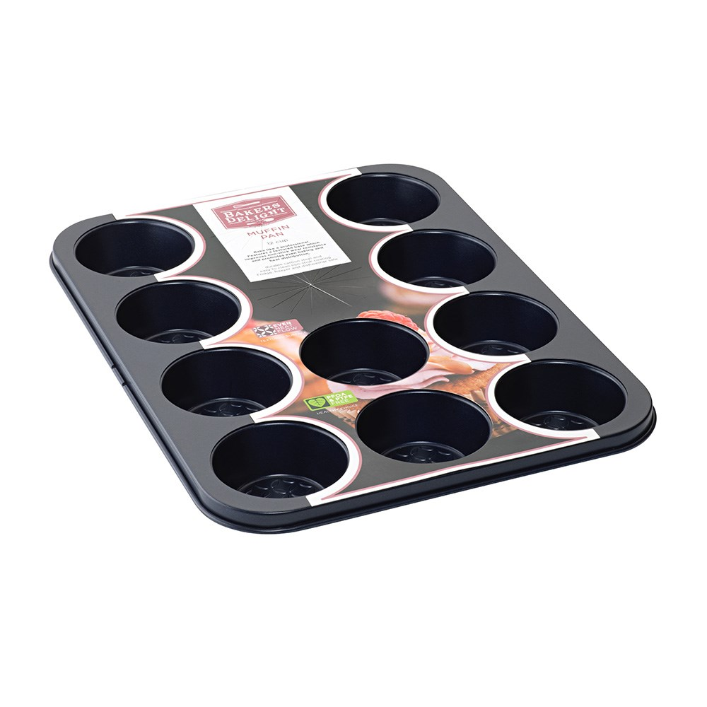 Bakers Delight Cuisson Carbon Steel Non Stick 12 Cup Muffin Pan Navy