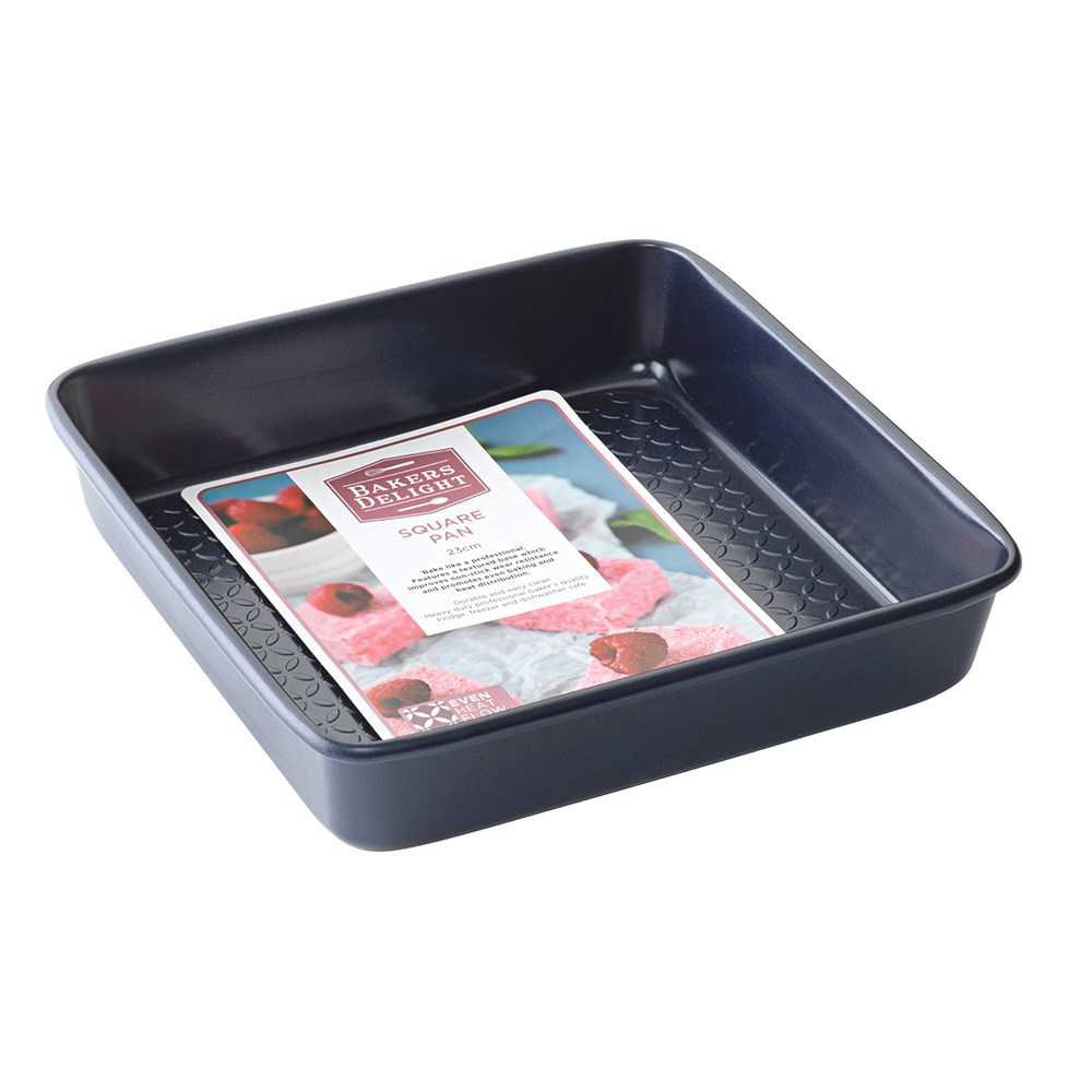 Bakers Delight Cuisson Carbon Steel Non Stick Square Baking Pan 23cm Navy