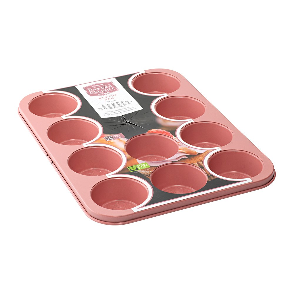 Bakers Delight Cuisson Carbon Steel Non Stick 12 Cup Muffin Pan Rose