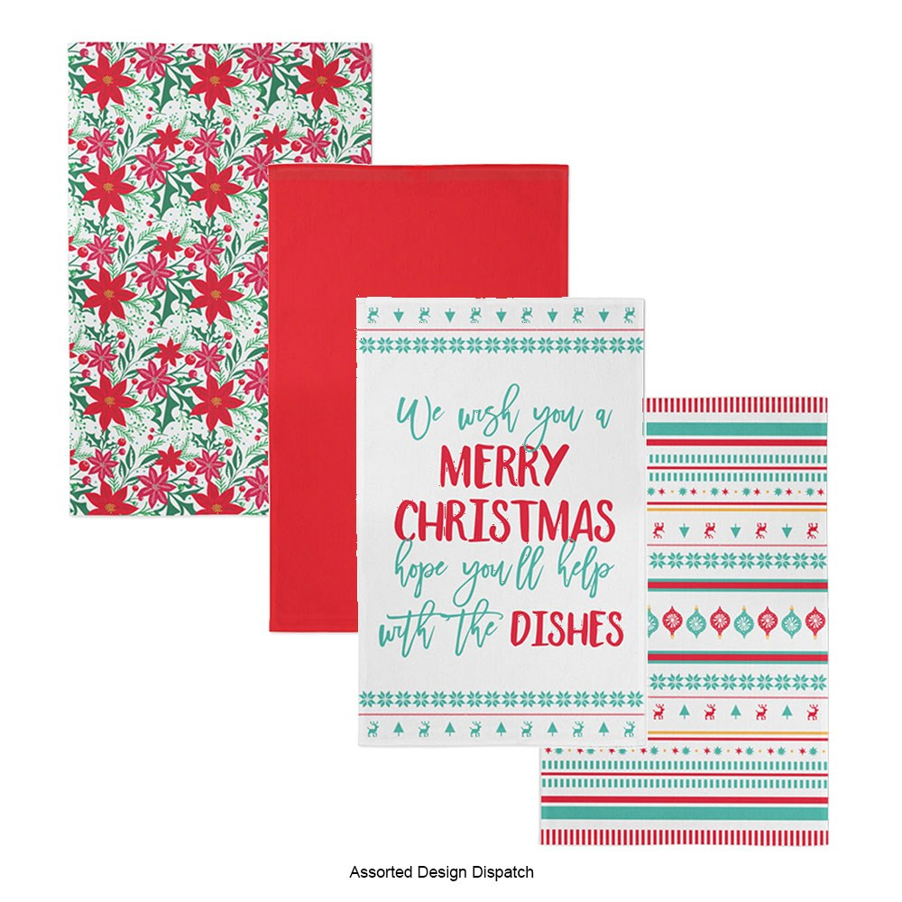 Ambrosia Santas Workshop Tea Towel Set of 2 - Assorted Design Dispatch