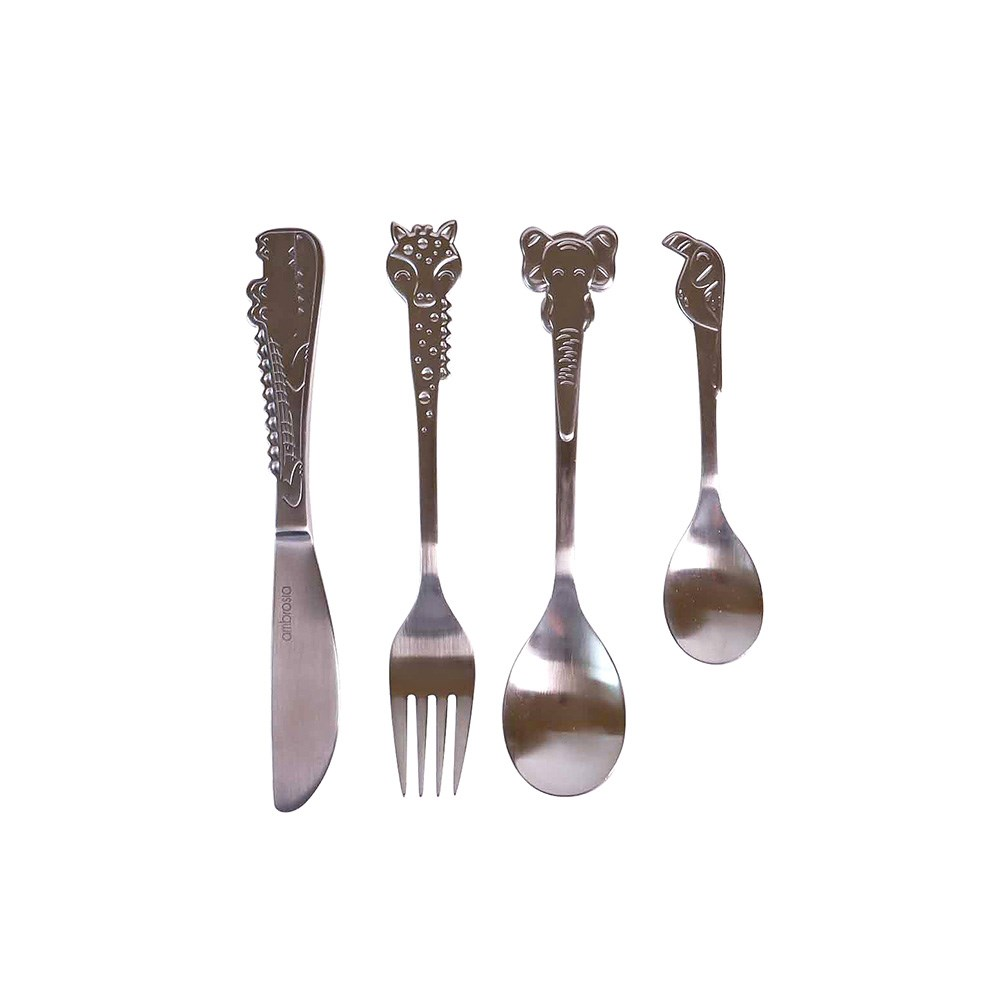 Ambrosia Safari 4 Piece Stainless Steel Children's Cutlery Set