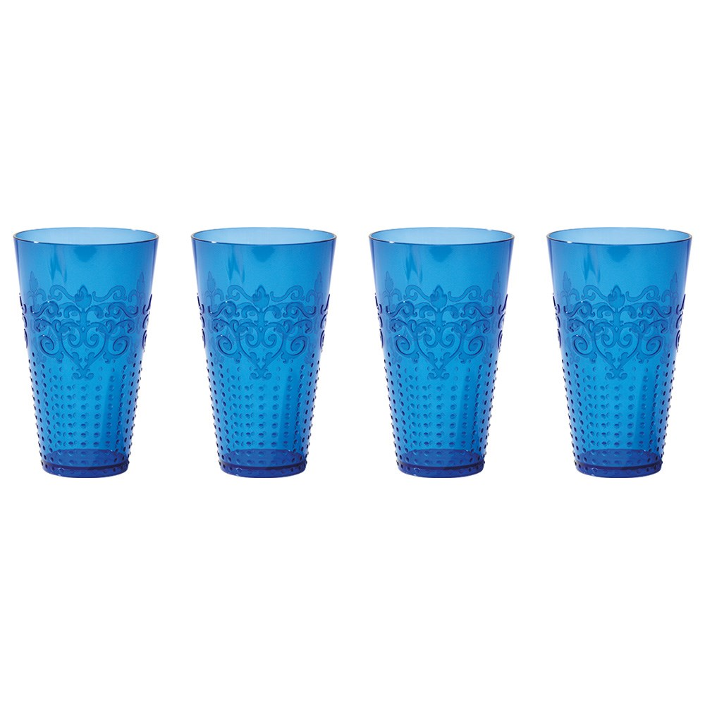 Cellar By The Pool 4 Piece Shatterproof Outdoor Tumbler Set Blue