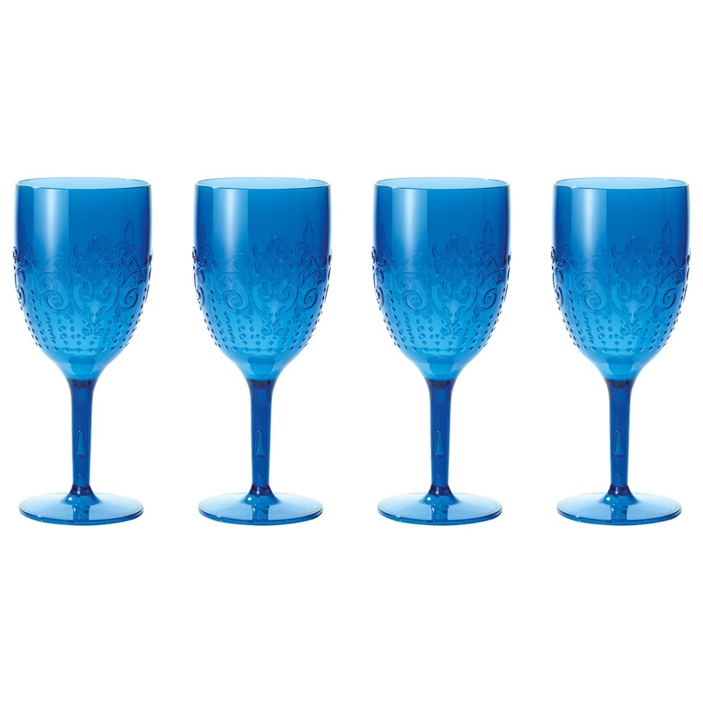 Cellar By The Pool 4 Piece Shatterproof Outdoor Wine Glass Set Blue