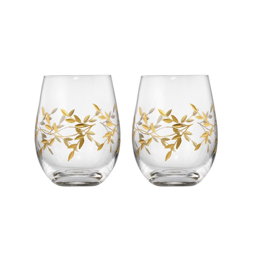 Cellar Premium Set of 2 Luxe Gold Leaf Stemless Wine Glass